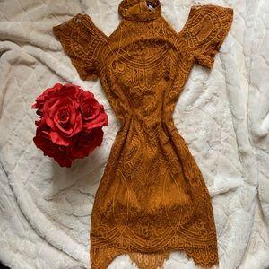 MATERIAL GIRL golden mustard lace dress